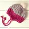 custom | pom pom earflap beanie | crochet pink grey