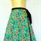 Teal blue wrap around skirt - retro flower paisley print - Ladies sizes 8 to 18