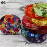 Rainbow Buttons Drink coffee coasters or paperweights - 8 pack - Resin