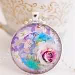 Pretty Rose Collage pendant
