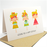 Happy Birthday Card Female - Tropical Fruit Dancers - HBF128
