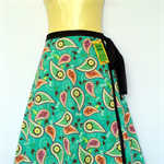 Teal blue wrap around skirt - retro flower paisley print - Ladies sizes 8 to 18