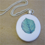 Leaf ~ Transfer on Polymer Clay Necklace