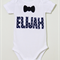 Blue Star Print Fabric Applique Custom Name Black Bow Tie Applique Bodysuit