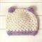 pom pom beanie   crochet   newborn, baby   cream blue