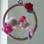 Humming Bird in hanging Floral Bower/ needle felted mohair