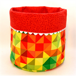 REVERSIBLE FABRIC BASKET - large 'Warm Colours Geo Print'