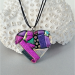 Pink Purple Heart Necklace - Glass Dichroic