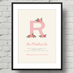 Personalised Alphabet Nursery Art Print, Baby Initial, Name and Birth Details