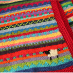 "Boho Red ""Sheep"" Blanket - Hand knitted in pure wool"