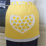 Half Apron Apples yellow - womens lined apron with fun apple heart pocket