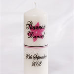 Medium Personalised white wedding ceremony single candle candles gift or gifts