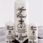 3 Piece Personalised wedding unity set bride groom family candles gift or gifts