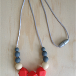 Silicone Necklace -Rose in Coral-