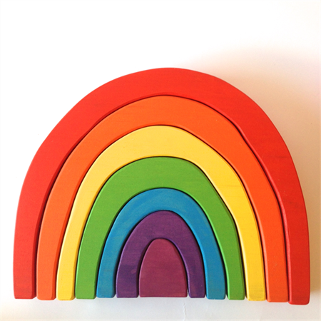Large hand painted wooden rainbow. (7 Piece)