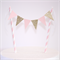 Bunting Cake Topper - Pink and Gold Glitter Triangle Flags