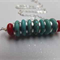 Sterling Silver, Turquoise and Coral Rondelle Necklace
