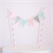 Bunting Cake Topper - Pink, Mint Blue and Silver Glitter Triangle Flags