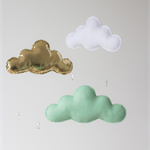 Mint, Gold and White Felt n Fabric Cloud Mobile with RainDrops Baby Nursery Chil
