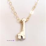 Tiny giraffe necklace, animal charm necklace, silver