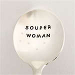 Souper Woman Hand Stamped Vintage Silver Soup Spoon With Stars. Fun Unique Gift
