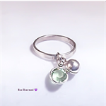 Personalised ring, birthstone ring with tiny bell charm, sterling silver