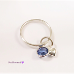 Personalised ring, birthstone ring with tiny heart charm