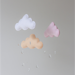 Pink, Peach and White Felt Cloud Mobile Raindrops Baby Nursery Childrens Decor
