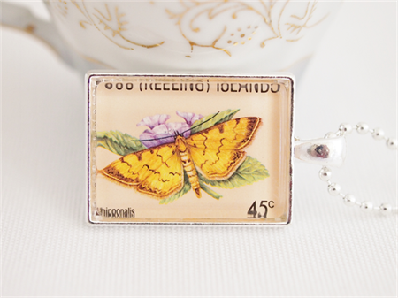 Vintage Butterfly postage stamp pendant, Cocos Keeling Islands