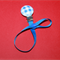 WOODEN BLUE & WHITE DUMMY / PACIFIER  CLIP