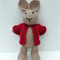 Benjamin the  Hand Knitted Bunny Rabbit Toy with Red Jacket