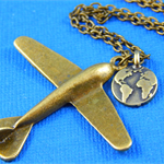 Globe Trotter - Antique Brass Plane Necklace Bon Voyage Gift
