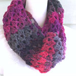Hand crocheted cowl - shades of pink, purple and grey