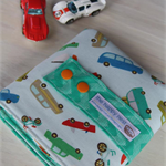 Car Wallet with Road, storage roll for six toy cars - grey
