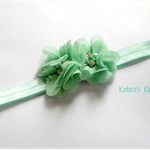 Green bella flowers stretch headband