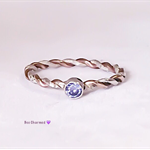 Thin tanzanite ring, two toned ring, stacking ring