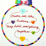 Wall art / hoop art for Mother's Day - Mum's are like buttons