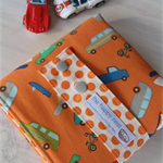 Car Wallet with Road, storage roll for six toy cars - orange