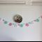 Mint Green Pink White Acrylic Crochet Flower Heart Garland Bunting Decoration