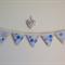 Mini Handmade Blue & Beige Fabric Bunting Flags Nursery Decoration