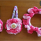 Hair accessories - crochet double layer flower snap clip and scrunchie set PINK
