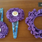 Hair accessories - crochet double layer flower snap clip and scrunchie PURPLE