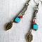 Boho, long dangle earrings, czech blue square, red, leaf charm, bronze, chain