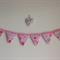 Mini Handmade Pink & Beige Fabric Bunting Flags Nursery Decoration