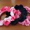 Hair accessories - crochet hair tie scrunchies - 3 pack BLACK, LIGHT PINK, PINK