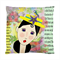 French Girl With Yellow Hat & Bird Double Sided Art Cushion Cover