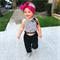 Black Leopard Crop and Black Harems - baby, girl, white, Luxe, birthday,