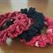 Hair accessories - crochet hair tie scrunchies - 3 pack BLACK, DARK RED, RED