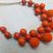 Orange Wood & Crochet Bead Beaded Necklace