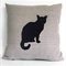 Handprinted Lil Cat  Linen Cushion Cover